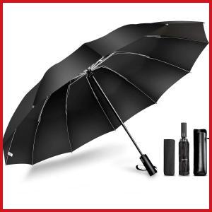 頑丈な12本骨 逆折り式 折りたたみ傘 ワンタッチ開閉 メンズ傘 108cm超大サイズ Teflon加工 超撥水 紫外線遮蔽 UVカット 晴雨兼用|ariari