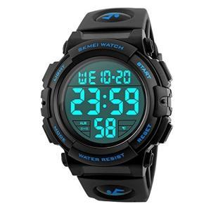 Timever(タイムエバー)デジタル腕時計 メンズ led watch スポーツウォッチ アラーム ストップウォッチ機能付き 50M防水 (ブルー)|ariari