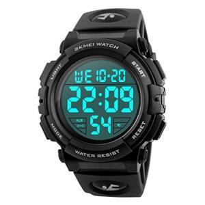 Timever(タイムエバー)デジタル腕時計 led watch スポーツウォッチ アラーム ストップウォッチ機能付き 50M防水時計  (ブラック)|ariari