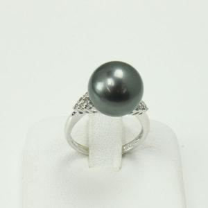 真珠 指輪 パール リング 黒蝶真珠 指輪 黒真珠 12mm...