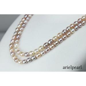 真珠パールネックレス淡水真珠ロングパールネックレス淡水パールマルチカラー80cmデザイン10222-15047