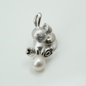 真珠タイピンパールブローチタイタック アコヤ真珠動物シリーズウサギ6月誕生石