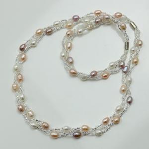 真珠 パール ロング ネックレス 淡水真珠淡水パールネックレスとブレスレットセット12795-14843