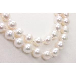 真珠 パール ロング ネックレス あこや真珠 ロング パール ネックレス アコヤ本真珠 8.5mm-9mm 80cm ホワイトピンクカラー バロックパール 人気 カジュアル 安い