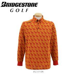 ブリヂストンゴルフ メンズ 幾何学柄 長袖 ボタンダウン ポロシャツ EGM31F [2016年モデル] ゴルフウェア [秋冬モデル 50%OFF] 特価 [有賀園ゴルフ]|arigaen
