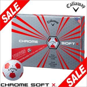 [2017年数量限定] キャロウェイ CHROME SOFT X TRUVIS クロム ソフトX トゥルービス ホワイト/レッド ゴルフボール 1ダース(12球入り) arigaen