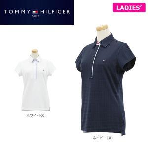 トミー ヒルフィガー ゴルフ レディス THブロックロゴ ジャガード 半袖 ポロシャツ THLA706 ゴルフウェア [2017年春夏モデル 30%OFF] バーゲン|arigaen