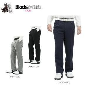 ブラック&ホワイト メンズ ストレッチ ツータック ロングパンツ 5205GF/EA ゴルフウェア [秋冬モデル 50%OFF] 特価 [裾上げ対応3] [有賀園ゴルフ]|arigaen