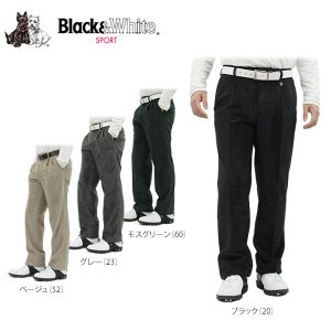 ブラック&ホワイト メンズ ストレッチ ツータック ロングパンツ 5205GF/ED ゴルフウェア [秋冬モデル 50%OFF] 特価 [有賀園ゴルフ] [裾上げ対応1]|arigaen