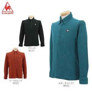 ルコック メンズ 長袖 杢調 ボタンダウン ポロシャツ QG1057 [2016年モデル] ゴルフウェア [秋冬モデル 50%OFF] 特価 [有賀園ゴルフ]|arigaen