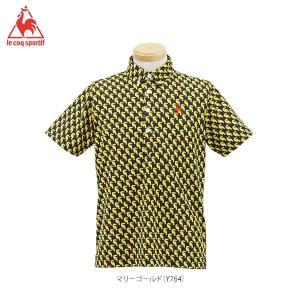 ルコック メンズ バード柄 半袖 ボタンダウン ポロシャツ QG2980 [2016年モデル] ゴルフウェア [春夏モデル 60%OFF] 特価 [有賀園ゴルフ]|arigaen