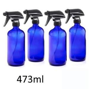 4本セット 遮光瓶 ブルー ガラスボトル 473ml スプレーボトル ミニじょうご付き 青ボトル ガ...