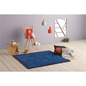 ラグマット | ラグマット/絨毯 (モリノナカ 140cm×140cm ブルー) 正方形 日本製 床暖房可 防ダニ Masaru Suzuki Design 『NEXTHOME』|arinkurin2