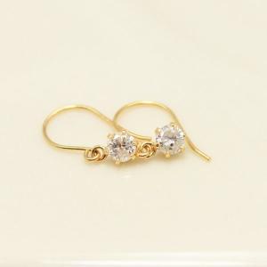 ダイヤモンド | 18金0.2ctダイヤモンドピアス ショートフックピアス|arinkurin2