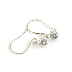 ダイヤモンド | プラチナ0.25ct一粒石ダイヤモンドピアス チャームフックピアス|arinkurin2