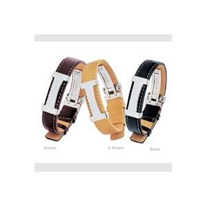 ファッション   ステンレス&レザーブレスレット ライトブラウン arinkurin2