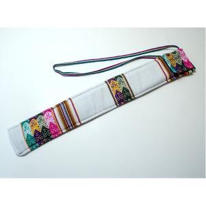 楽器   (QUENA SOFT CASE WHITE)民族楽器ケーナ用の布ケース(アンデス織物アワイヨ)白 ペルー製 arinkurin2