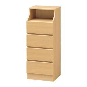 収納家具 | 木製シンプルチェスト/収納タンス (4段 幅44cm×高さ110cm) ナチュラル 収納棚付き 組み立て簡単 『CHESCA チェスカ』|arinkurin2