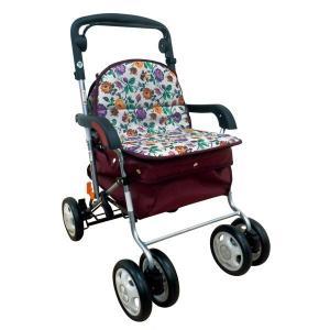 シルバーカー | きほんのシルバーカー 反射機能/取り外し可能バッグ付き フラワーレッド (歩行補助用品/介護用品)|arinkurin2