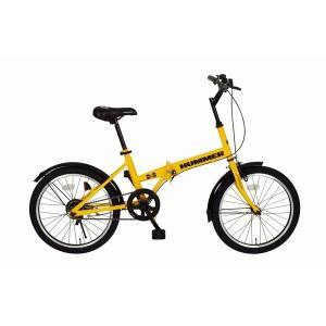 自転車(シティーサイクル) | ハマー製 折りたたみ自転車 (シングルギア イエロー) 20インチ スチール 『HUMMER』 (通勤 通学)|arinkurin2