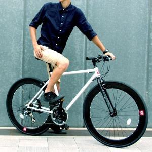 自転車(シティーサイクル) | クロスバイク 700c(約28インチ)ホワイト(白) シマノ21段変速 軽量 重さ11.2kg (HEBE) ヘーべー CAC024|arinkurin2