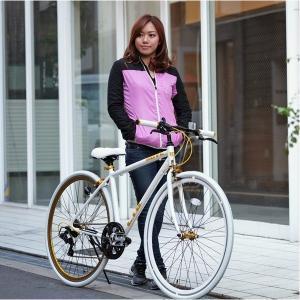 自転車(シティーサイクル) | クロスバイク 700c(約28インチ)ホワイト(白) シマノ7段変速 重さ 12.0kg 軽量 アルミフレーム (LIG MOVE)|arinkurin2