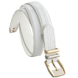 ファッション | クロコ型押し牛革クラシカルベルト ホワイト(バックル:コンビ)|arinkurin2