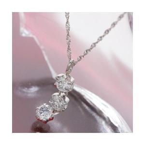 オールプラチナスリーストーンダイヤモンドペンダントネックレス | ダイヤモンド|arinkurin2