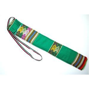 楽器   (QUENA SOFT CASE GREEN AGUAYO)民族楽器ケーナ用の布・ソフトケース アンデス織物のアワイヨ柄 グリーン(緑) ペルー製 arinkurin2
