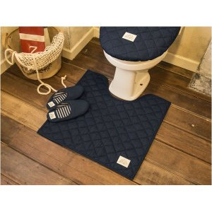 トイレ用品 | LaidBack トイレマット/トイレ用品 (60×60cm ネイビーブルー) デニム生地 洗える すべり止め加工|arinkurin2