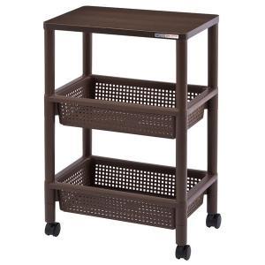 キッチンワゴン | キャスター付きテーブルワゴン/マルチ収納棚 〔ブラウン〕 幅45.5cm×高さ70cm 2段バスケット棚 木製天板