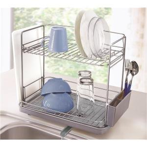 スリム水切りかご(水切りラックキッチン用具) 2段 (縦横兼用) 水が流れるトレー付き SV(シルバー)|arinkurin2