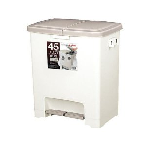 ペダルペール(分別ゴミ箱ダストボックス) 45L ベージュ 幅49.5cm ポリ袋止め・フタ付き | 日用雑貨|arinkurin2