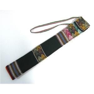 楽器   (QUENA SOFT CASE DARK GREEN AGUAYO)民族楽器ケーナ用の布・ソフトケース アンデス織物のアワイヨ柄 ダークグリーン(濃い緑) ペルー製 arinkurin2