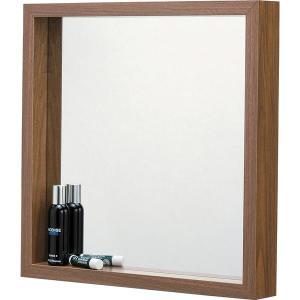 ウォールミラー壁掛け姿見鏡 (L) 幅42cm×奥行6cm×高さ42cm 飛散防止ミラー ウォールナット MU034WAL|arinkurin2