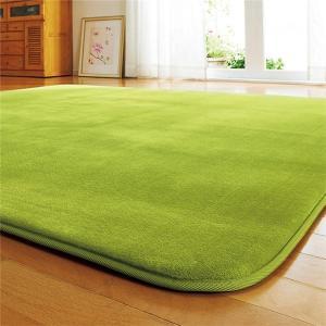 ラグマット | 厚みが選べる ふわふわラグマット/絨毯 〔ふっくらタイプ 2畳 185cm×185cm グリーン〕 厚み20mm 正方形 ラグカーペット