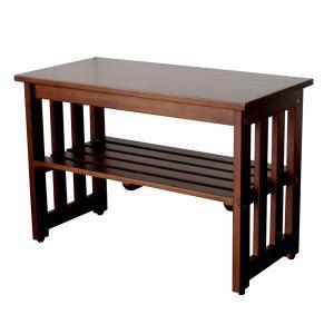 玄関台 | シンプル 玄関ベンチ腰掛け椅子 (ブラウン) 幅60cm 木製 収納棚付き