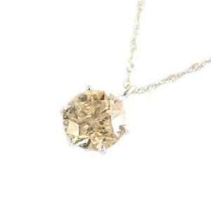 プラチナ 一粒 ダイヤモンド ネックレス ブラウンダイヤ ペンダント | ダイヤモンド|arinkurin2