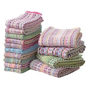 ファッション | バスタオル&フェイスタオルセット (14枚セット 色柄おまかせ) 洗える 綿100% 『残糸使用 エコタオル』|arinkurin2