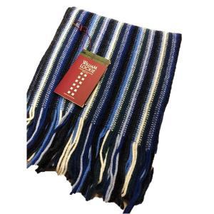 ファッション | 英国製 100%NEW LAMBSWOOL WILLIAM LOCKIE ウィリアムロッキー ストライプマフラー ブルー|arinkurin2