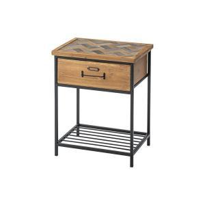 サイドテーブル、ナイトテーブル | 引き出し付き サイドテーブル (幅40cm) 木製 スチール 棚板1枚付き (リビング ダイニング ベッドルーム 寝室)|arinkurin2