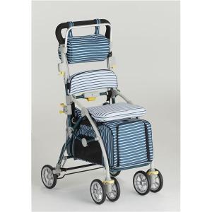 シルバーカー | (フランスベッド) ペットカートシルバーカー (しま ブルー) ブレーキ 杖ホルダー付き 『ラクティブペット』|arinkurin2