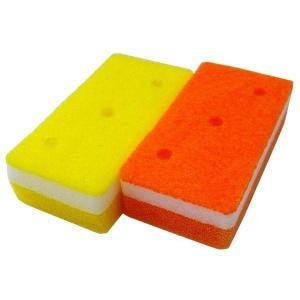 ソフトスポンジキッチンスポンジ (オレンジ・イエロー 2個入り) 抗菌 キッチン用品 『泡キュット』...
