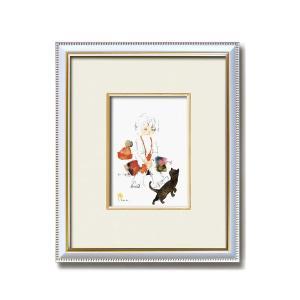 絵画   ちひろ額装 壁掛け額 白いフレーム いわさきちひろ 絵画額 黒い猫と少女