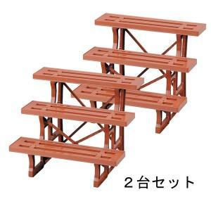 ガーデニング   日本製 フラワースタンド ヒナ3段600 ブラウン 2台セット 60cm幅 園芸 ガーデニング スタンド プランター置き プランタースタンド arinkurin2