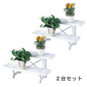 ガーデニング   日本製 フラワースタンド ヒナ2段600 ホワイト 2台セット 60cm幅 園芸 ガーデニング スタンド プランター置き プランタースタンド arinkurin2