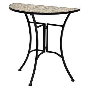 ガーデンファニチャー   ガーデンテーブル (約幅70×奥行35×高さ70) スチール製 タイル付き天板 組立式 (ガーデニング 園芸) arinkurin2