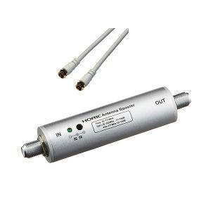 HORIC アンテナブースター 室内・地デジ(UHF/VHF)専用 中継タイプ + アンテナケーブル...