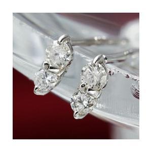 ダイヤモンド | K10WGダイヤモンドピアス ダブルストーンピアス|arinkurin2