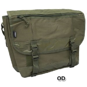 ミリタリー   アメリカ軍 メッセンジャーバッグ鞄 ( 20 L ) ポリエステルキャンバス地ラバー 防水加工 B S124YN オリーブ ( レプリカ ) arinkurin2